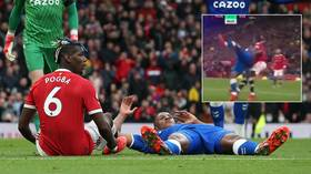 'He thinks it's WWE!' Paul Pogba BODYSLAMS rival Mina to floor as frustrations boil over in Man Utd draw (VIDEO)