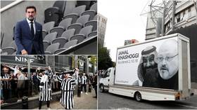 'Can't sportswash human rights': Poster of murdered Khashoggi paraded at Newcastle stadium before first game under Saudis (PHOTOS)