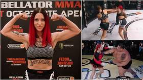 Russian 'freakshow' fight queen Mazdyuk – who previously defeated 530-pound man – beaten as she makes Bellator debut in Moscow