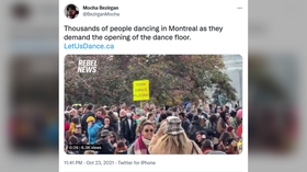 Clubbers in Quebec, Canada ask govt to lift ban on dancing & karaoke in 'dance for the right to dance' protest (VIDEOS)
