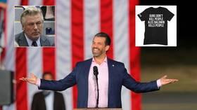 'Guns don't kill people, Alec Baldwin kills people': Donald Trump Jr's sarcastic T-shirt slogan reignites feud with liberal actor