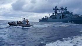 Russian Navy destroyer chases off PIRATES who attacked container ship off African coast