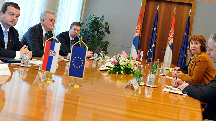 EU High Representative for Foreign Affairs and Security Policy Catherine Ashton attends a meeting with Serbian President Tomislav Nikolic, Prime Minister Ivica Dacic and First Deputy Prime Minister Aleksandar Vucic in the Palace of Serbia in Belgrade on March 14, 2013. (AFP Photo / Andrej Isakovic)