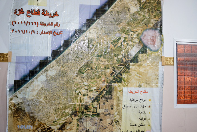 Map made for volunteers to show the territories taken form Palestinians (RT Photo)