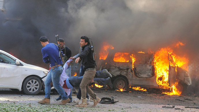 A powerful car bomb explosion near the headquarters of Syria's ruling Baath party in the centre of Damascus. (AFP Photo)
