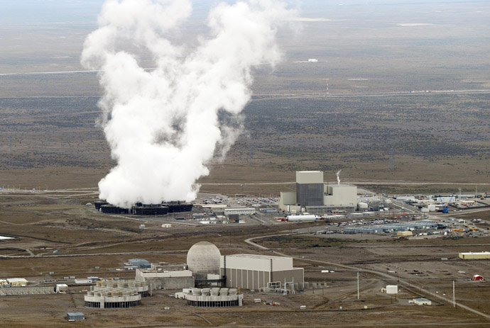 his March 21, 2011 file photo shows an aerial view of the Columbia Generating Station, a nuclear power plant inside the Hanford nuclear site beside the Columbia River in Hanford, Washington state. (AFP Photo/Mark Ralston)