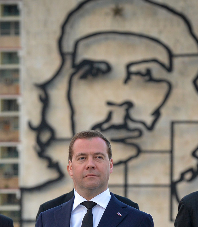 Russian Vice President Dmitri Medvedev during a ceremony at Revolution Square in Havana, on February 21, 2013. Medvedev is in Cuba in a three-day official visit. (AFP Photo/Adalberto Roque)