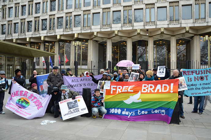 Bradley Manning London protest (Image from twitter.com user @LonFoWL)