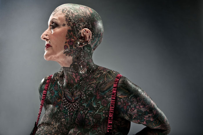 Isobel Varley – Most Tattoed Senior Citizen. (Image from ugly.org)
