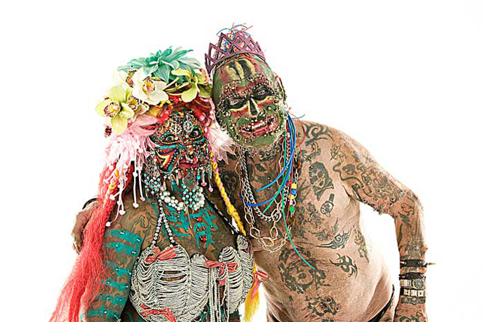 Elaine Davidson and John Lynch A.K.A. Prince Albert - world's most pierced woman and man. (Image from ugly.org)