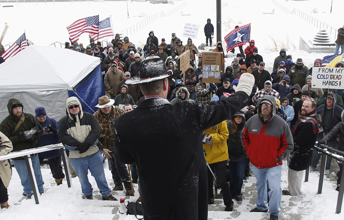 Montana state Senator Ryan Zinke addresses a pro-gun activist rally as part of the National Day of Resistance, at the state Capitol in Salt Lake City, Utah, February 23, 2013. (Reuters/Jim Urquhart)