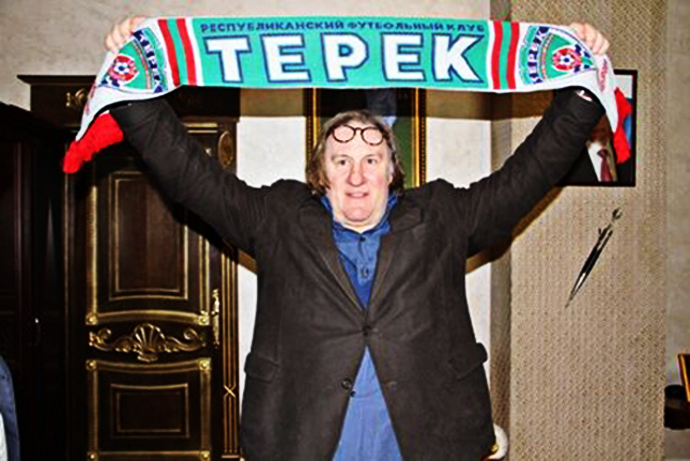 Depardieu said he's a Paris Saint-Germain fan, but will back FC Terek Grozny (Image from official FC Terek's twitter page @fcterek)