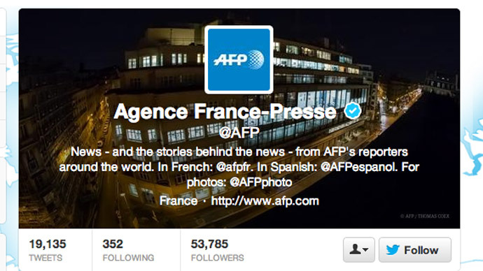 AFP Twitter feed hacked, flooded with pro-Assad tweets