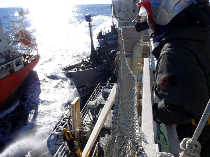 A photo taken from the Japanese whaling ship Nisshin Maru of Sea Shepherd ship Bob Barker. (AFP Photo)