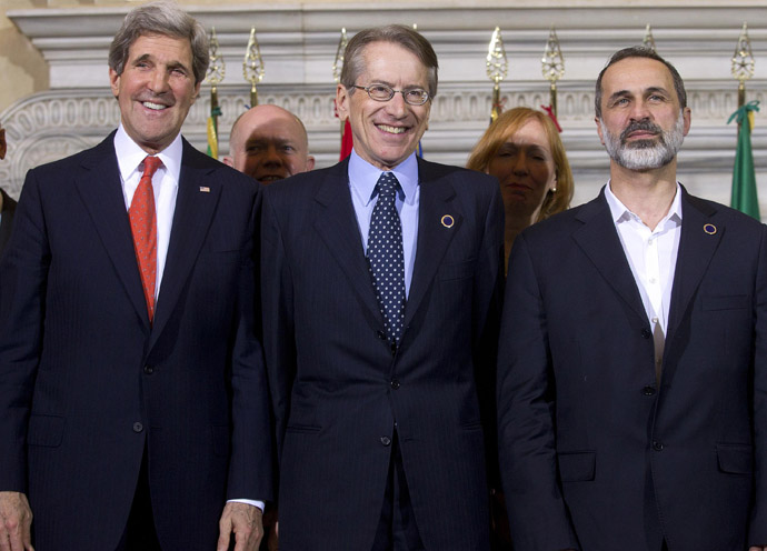 "(From L) US Secretary of State John Kerry, Italy's foreign minister Giulio Terzi and Syrian National Coalition President Mouaz al-Khatib pose during a meeting of the ""Friends of the Syrian People (FOSP) Ministerial"" group on February 28, 2013 in Rome. (AFP Photo/Claudio Peri)"