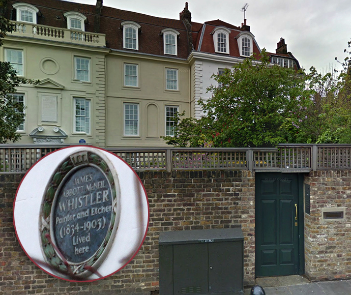 The house on Cheyne Walk that was once occupied by American painter James Abbott McNeill Whistler. (Image from maps.google)