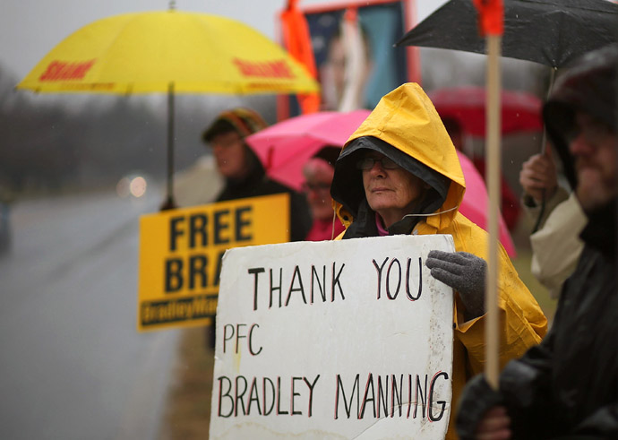 Protesters from the Bradley Manning Support Group hold signs during a rally at the entrance to Fort George G. Meade on November 27, 2012 in Fort Meade, Maryland. (Mark Wilson/Getty Images/AFP)