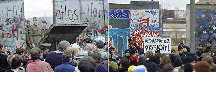 A combo shows a file photo taken on November 11, 1989 of West Berliners crowding in front of the Berlin Wall as East German border guards demolish a section of the wall in order to open a new crossing point between East and West Berlin, and a photo taken on March 1, 2013 of policemen facing protestors as a section of the East Side Gallery, a 1,3 km long remainder of the Berlin Wall. (AFP Photo / Gerard Malie / Odd Andersen)