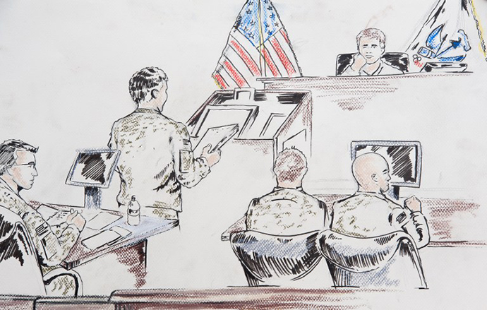 This courtroom sketch shows US Army Private First Class Bradley Manning (L) on December 16, 2011 at Ft. Meade, Maryland. (AFP Photo / Shawn P. Sales)