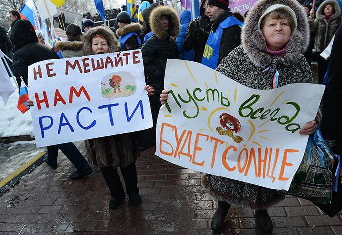 People march during a rally in defence of Russian children in Moscow, March 2, 2013. (RIA Novosti / Alexei Filippov)