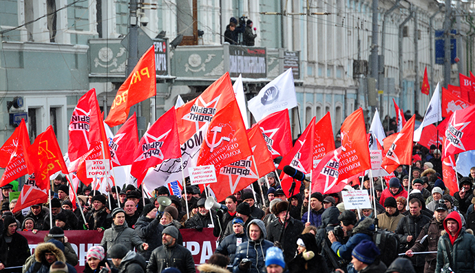 Opposition supporters march in central Moscow, March 2, 2013. Left-wing opposition groups held an anti-government rally to defend the rights of Moscow citizens. (RIA Novosti / Alexei Kudenko)