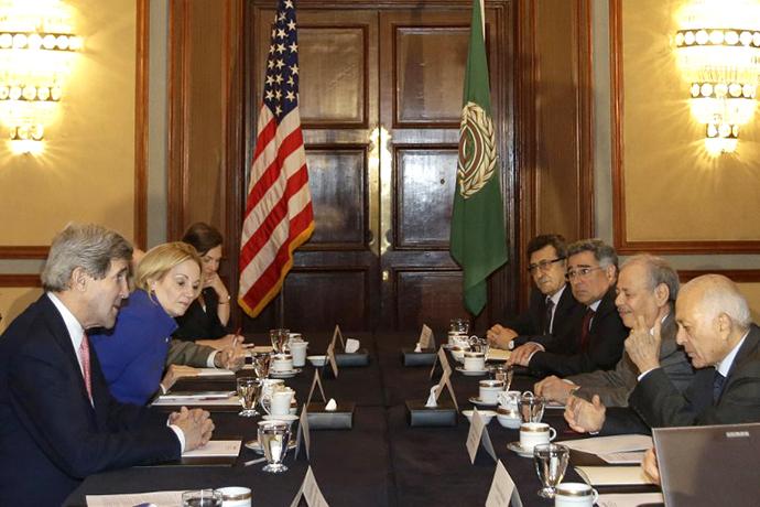 U.S. Secretary of State John Kerry meets with Arab League Secretary General Nabil al-Arabi in Cairo, on March 2, 2013. (AFP Photo / Jacquelyn Martin)