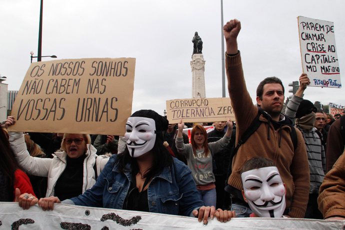 Demonstrators shout while taking part in a march against government austerity policies in Lisbon March 2, 2013 (Reuters / Hugo Correia)