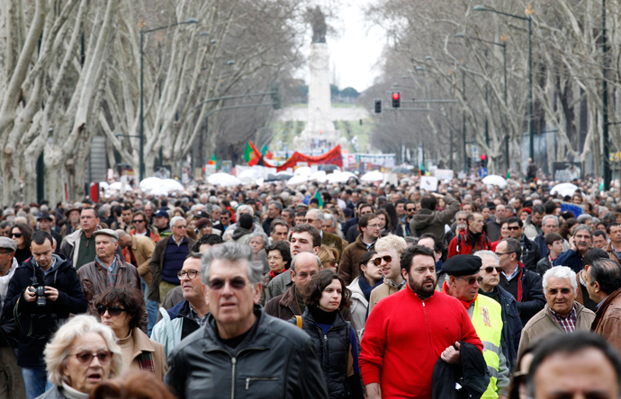 People march against government austerity policies in Lisbon March 2, 2013 (Reuters / Jose Manuel Ribeiro)
