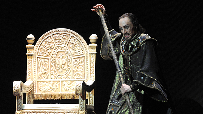Pavel Dmitrichenko as Tsar Ivan IV of Russia in a scene from the new production of Sergei Prokofiev's ballet Ivan the Terrible. (RIA Novosti / Vladimir Fedorenko)