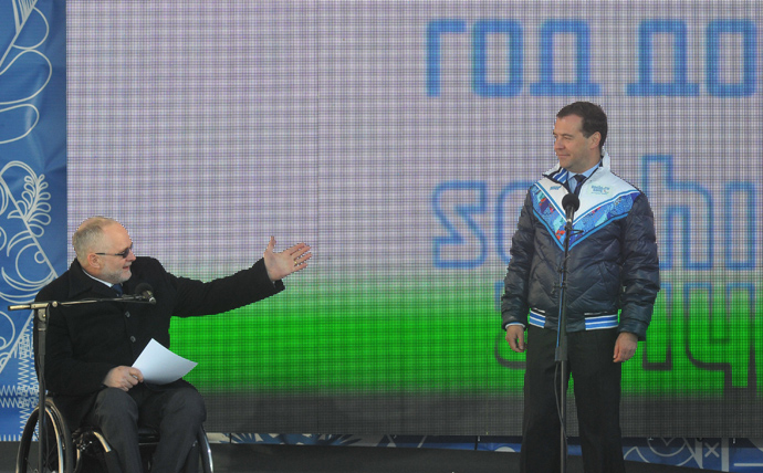 The International Paralympic Committee president, Sir Philip Craven, and Russia's Prime Minister, Dmitry Medvedev, at the Moscow's Red Square (RIA Novosti / Alexander Astafev)