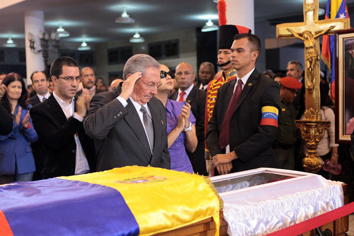 Cuban president Raul Castro during the funeral of President Hugo Chavez, in Caracas, on March 7, 2013. (AFP Photo / Presidencia)