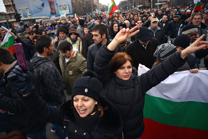People shout slogans as they block the traffic during a protest against high electricity bills in Sofia February 17, 2013 (Reuters / Tsvetelina Belutova)