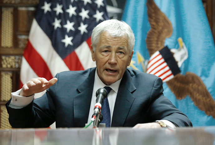 Chuck Hagel speaks to the press following his meeting with Afghanistan's President Hamid Karzai in Kabul on March 10, 2013 (AFP Photo / Jason Reed / Pool)