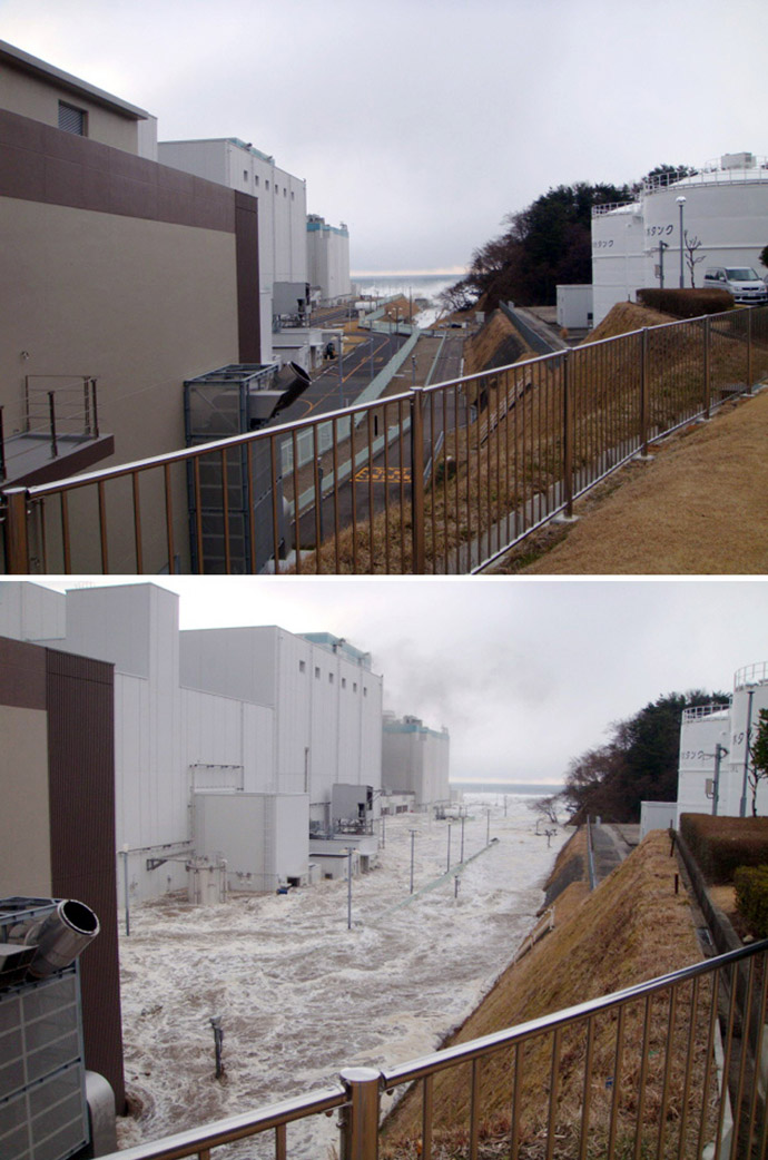This combo of handout images taken by Tokyo Electric Power Co (TEPCO) on March 11, 2011 shows before (top) and during (bottom) the tsunami hit the first rector building of TEPCO's No.2 (Dai-Ni) Fukushima nuclear power plant in Okuma in Fukushima prefecture. (AFP Photo/TEPCO via JIJI Press)