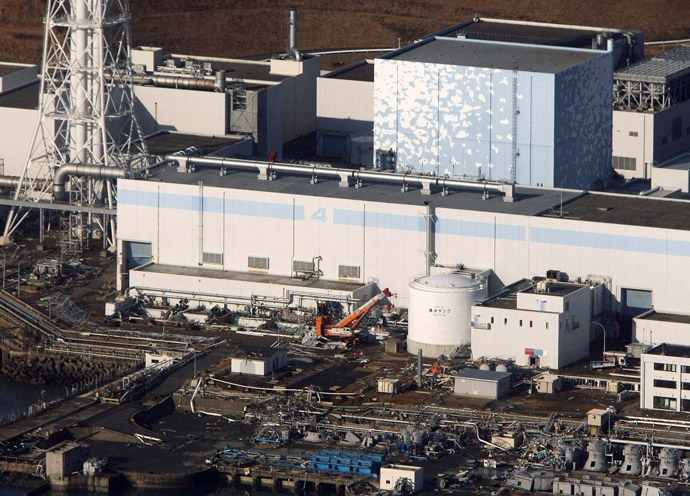 An aerial view shows the quake-damaged Fukushima nuclear power plant in the Japanese town of Futaba, Fukushima prefecture on March 12, 2011. (AFP Photo/JiJi Press)