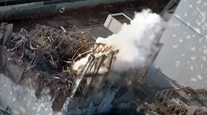 This handout image released from Tokyo Electric Power Co (TEPCO) on March 17, 2011 and received via JIJI Press on March 18, 2011 shows the damage to TEPCO's No.1 Fukushima nuclear power plant's third reactor building in the town of Okuma, Fubata district in Fukushima prefecture. (AFP Photo/TEPCO via JIJI Press)