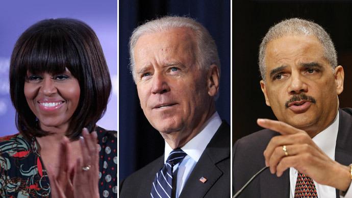 U.S. first lady Michelle Obama, U.S. Vice President Joe Biden, U.S. Attorney General Eric Holder (Chip Somodevilla/Mandel Ngan/Getty Images/AFP)