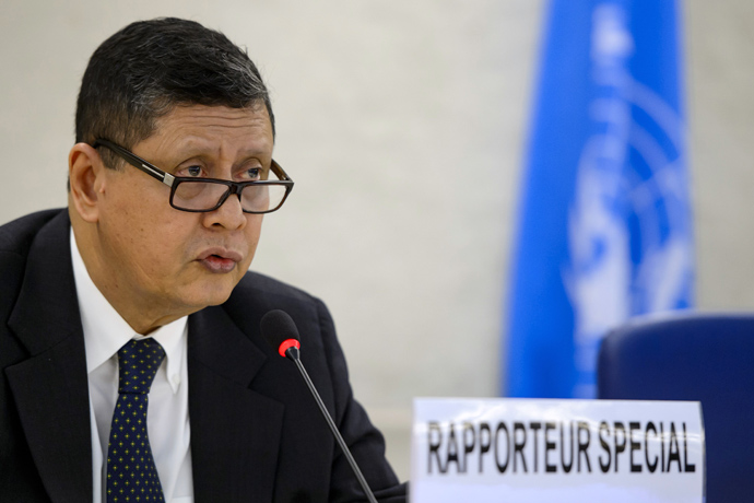 United Nations special rapporteur on North Korea, former Indonesian Foreign minister Marzuki Darusman delivers a speech before the Human Rights Council on March 11, 2013 at the United Nations Office in Geneva (AFP Photo/ Fabrice Coffrini)