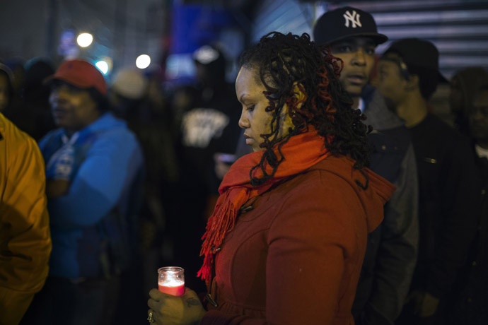 Demonstrator Stacy Michelin screams during a march protesting a New York Police Department shooting of 16-year-old Kimani Gray in the Brooklyn borough of New York, March 11, 2013. (Reuters/Lucas Jackson)