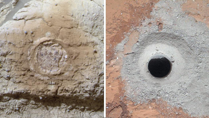 This combination image provided March 12, 2013 by NASA shows the results from the rock abrasion tool from NASA's Mars Exploration Rover Opportunity(L) and the drill from NASA's Curiosity rover(R), (AFP Photo / Handout / NASA / JPL-Caltech / Cornell / MSSS)