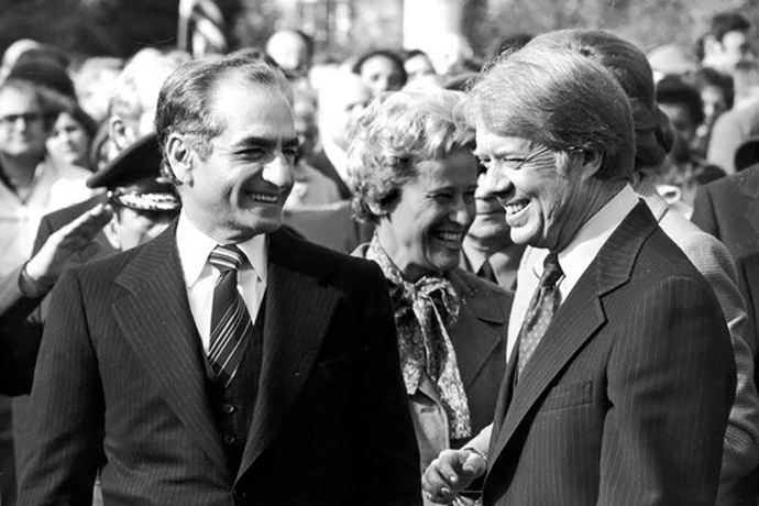 The Shah (L) and President Jimmy Carter