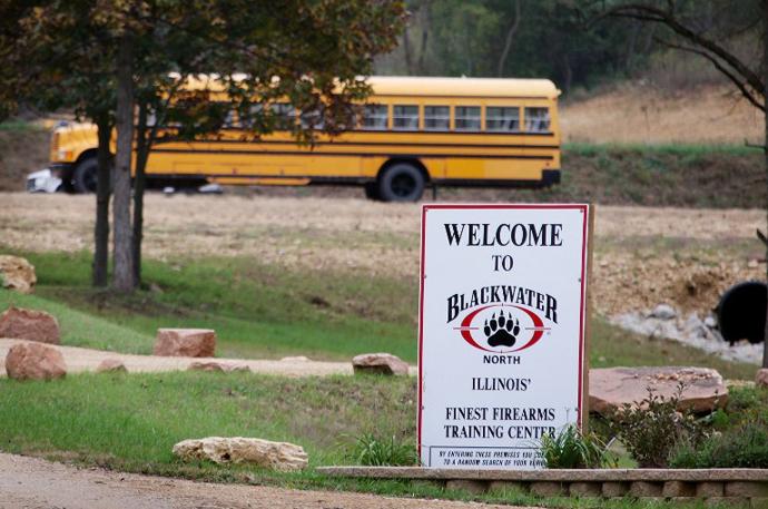 A sign marks the entrance of Blackwaterís training facility. (AFP Photo / Scott Olson)