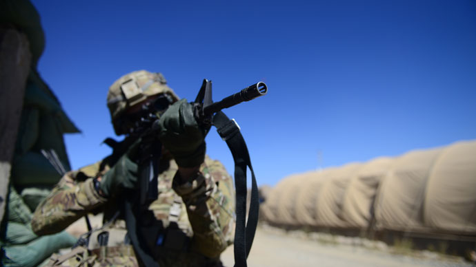 A soldier from 1st Squadron (Airborne), 91st U.S Cavalry Regiment, 173d Airborne Brigade Combat Team, operating under the NATO sponsored International Security Assistance Force (ISAF), takes part in a defence drill at Combat Outpost McClain in Muhammed Agha, Logar Province.(AFP Photo / Munir uz Zaman)