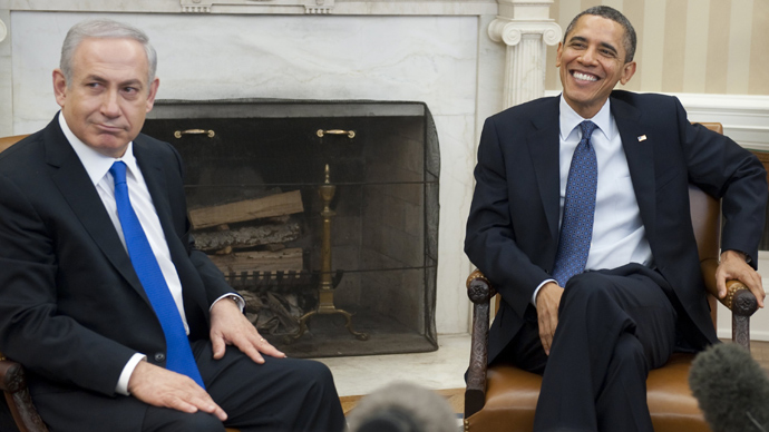 US President Barack Obama and Israeli Prime Minister Benjamin Netanyahu (L) speak during meetings in the Oval Office of the White House in Washington, DC, March 5, 2012 (AFP Photo / Saul Loeb)