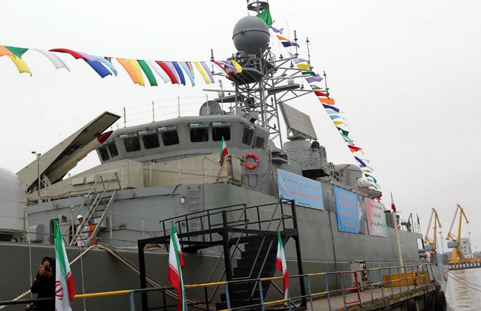 Iran's Jamaran-2 guided missile destroyer is docked during its inauguration, in the port city of Anzali. (AFP Photo)