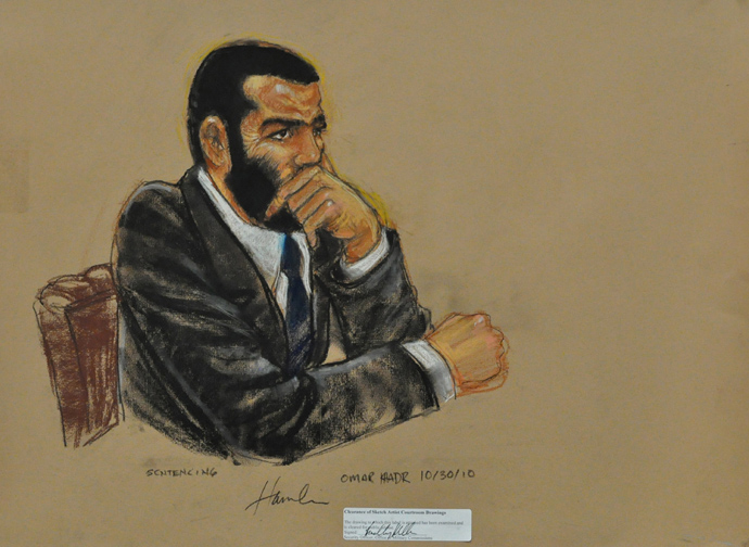 In this Pentagon-approved courtroom drawing, Toronto-born Omar Khadr, listens to closing arguments on October 30, 2010 at the US Guantanamo Naval Base in Guantanamo Bay, Cuba (AFP Photo / Janet Hamlin)