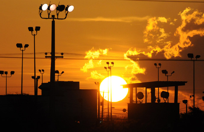 "The Sun rises over the US detention center ""Camp Delta"" at the US Naval Base inGuantanamo Bay, Cuba on October 18, 2012 in this photo reviewed by the US Department of Defense. (AFP Photo)"