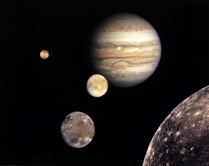 This NASA file image shows Jupiter (REAR) and its four planet-size moons, called the Galilean satellites, were photographed in early March 1979 by Voyager 1 and assembled into this collage.(AFP Photo / NASA)