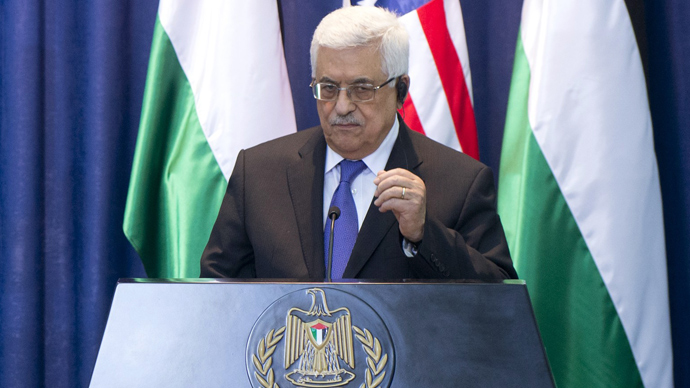 Mahmud Abbas at the Muqata, the Palestinian Authority headquarters, in the West Bank city of Ramallah on March 21, 2013 (AFP Photo / Saul Loeb)