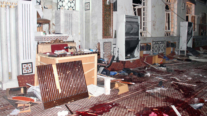 An image made available by the Syrian Arab News Agency (SANA) on March 21, 2013 shows carpeted floor covered with blood inside of the Iman Mosque in the Mazraa neighbourhood of the Syrian capital Damas, after a suicide attack on March 21, 2013 (AFP Photo / SANA)